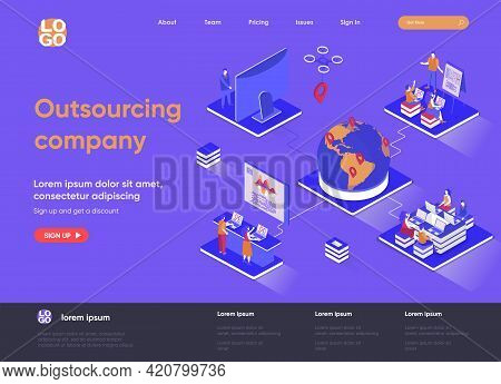 Outsourcing Company Isometric Landing Page. Remote Workforce And Freelancers Recruiting Isometry Con