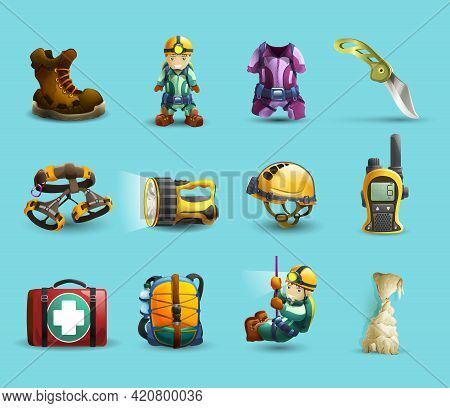 Digital Cave Exploration Surveying With Speleologist Equipment And Protective Wear 3d Icons Set Abst