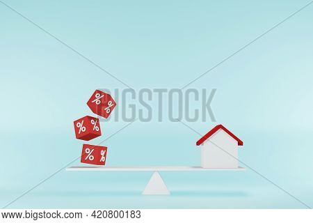 Interest Rate Financial And Mortgage Rates Concept. Home And Cube Block Shape With Icon Percent On B