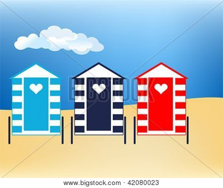 Vector illustration Beach huts at cloudy seaside
