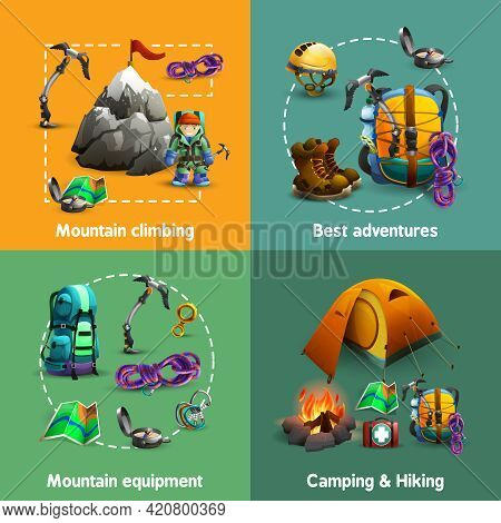 Alpine Mountain Climbing Camping And Hiking Equipment 4 3d Icons Square Composition Banner Abstract