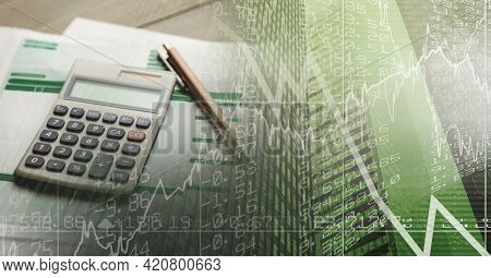 Composition of calculator and documents over digital diagrams. global business, finance and networking concept digitally generated image.