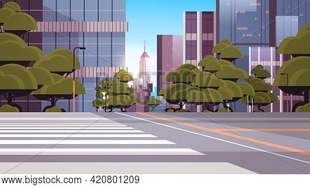 Road Empty Street With Crosswalk City Buildings Skyline Modern Architecture Cityscape Background