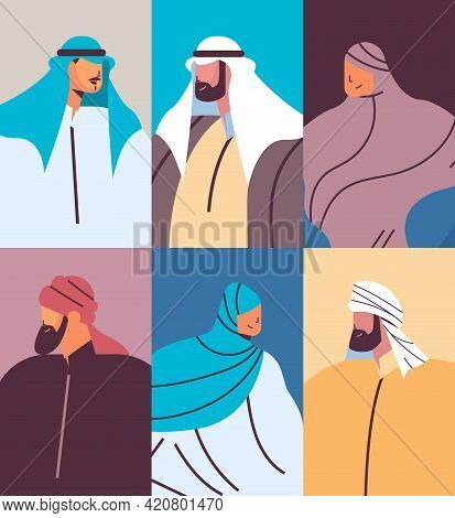 Set Arabic People Avatars Collection Male Female Arab Cartoon Characters In Traditional Clothes Port