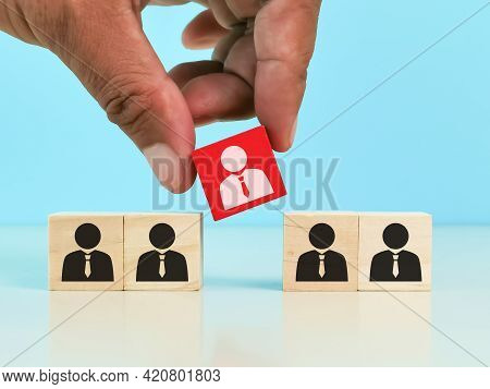 Human Resource Management And Recruitment Concept. Choosing Good Employee Leader. Man Choose And Tak