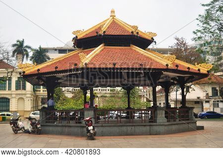 Classic Antique Modern Building Pavilion In Indira Gandhi Park For Vietnamese And Foreign Travelers