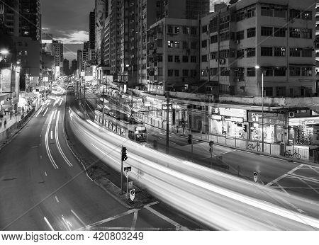 Hong Kong, China - May 01, 2021 : Busy Traffic In Downtown Yuen Long In Hong Kong, China. It Is One