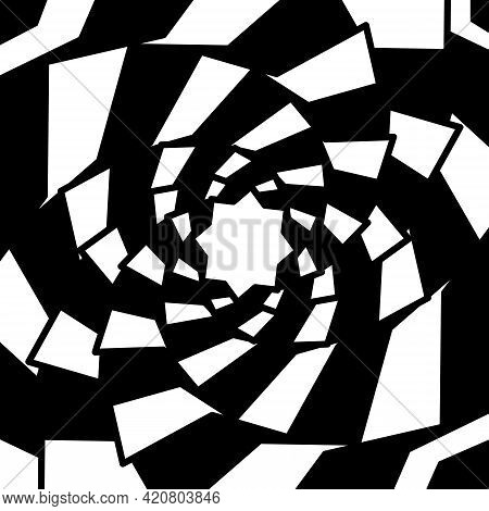 Graphic Shapes Star Swirling In Loop. Black And White Shapes That Create Illusion Of Movement