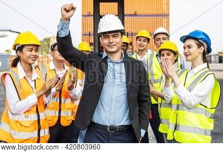Professional Engineering And Worker Team Congratulated Success By Applaud Their Leader After Constru