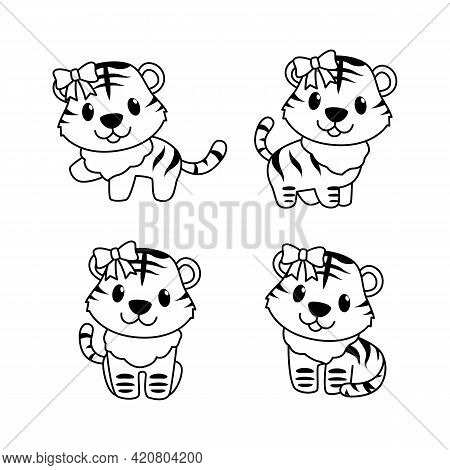 Set Of Cute Tiger Boy And Girl Outline Vector Style, Tiger Play With Friend, Tiger With Ribbon