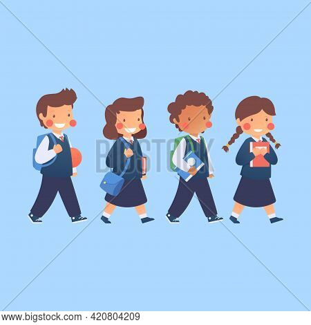 Flat Children Illustration Back To School Collection, Children Uniform, Talking, Go To School, Vecto