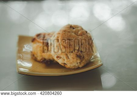 Scone On Yellow Dish, Afternoon Tea Break Concept
