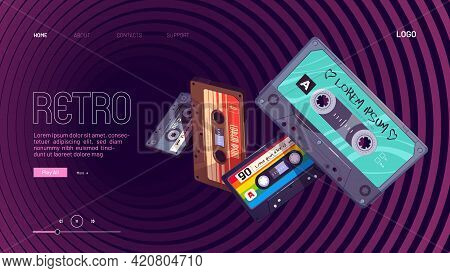 Retro Mixtapes Cartoon Landing Page With Audio Mix Tapes Falling Into Hypnotic Pattern. Cassettes, M