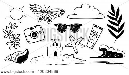 Various Attributes Of Summer Drawn In A Trendy Doodle Style - Sun, Cloud, Butterfly, Sunglasses, Sun