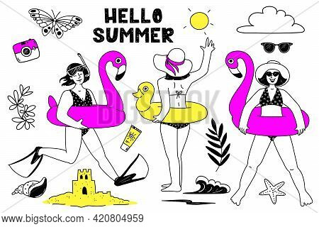 Girls With An Inflatable Pink Flamingo, With A Yellow Inflatable Duckling. Set Of Varied Summer Symb