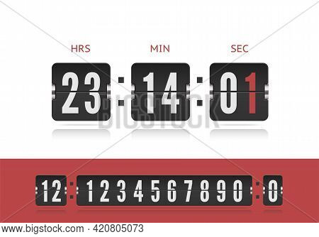 Vector Modern Ui Design Old Countdown Timer. Scoreboard Number Font. Coming Soon Web Page Design Wit