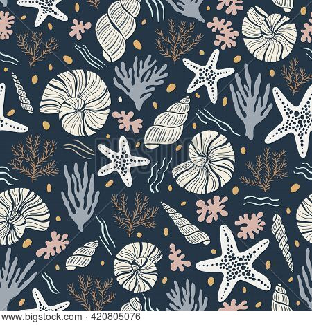 Hand-drawn Sea Shells, Fossils, Starfish, Corals, Seaweeds, Waves Abstract Vector Seamless Pattern.