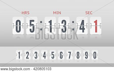 Vintage Flip Clock Time Counter Vector Template. White Scoreboard Countdown Number Font. Retro Desig
