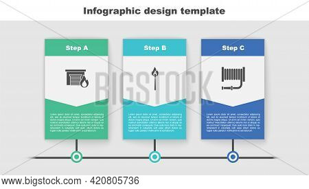 Set Fire In Burning Garage, Burning Match With Fire And Hose Reel. Business Infographic Template. Ve