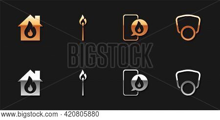 Set Fire In Burning House, Burning Match With Fire, Phone Emergency Call 911 And Gas Mask Icon. Vect