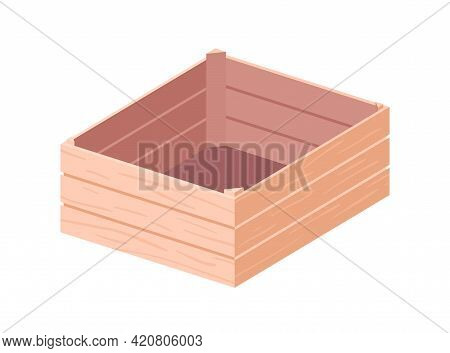 Empty Wooden Box For Storage And Transportation. Open Wood Crate For Grocery Products. Plywood Case