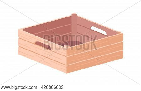 Empty Wooden Box With Handles. Farm Crate From Wood Planks For Fruits And Vegetables. Open Container