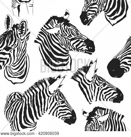 Contemporary Head Zebra Seamless Patter. Black And White Fabric Pattern Design. Illustration Of Seam