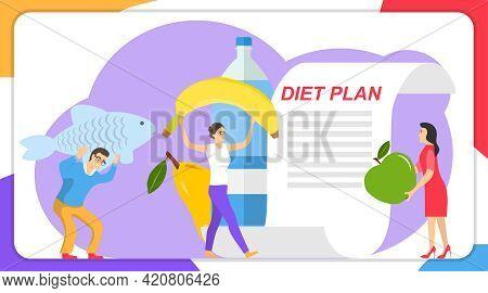 Diet Plan, People Develop Diet Plan Concept. Vector Illustration. Vector.
