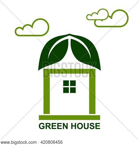 Green House, Eco House. Green House Icon On A White Background. Vector Illustration. Vector.