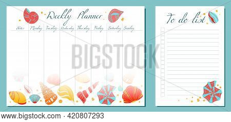 Set Of Day Organization Templates With Seashells With Boho Decoration. Weekly Planner And To Do List
