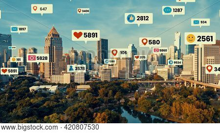 Social Media Icons Fly Over City Downtown Showing People Engagement Connection Through Social Networ
