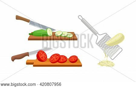 Grating And Chopping Vegetables On Wooden Cutting Board And With Metal Grater Vector Set
