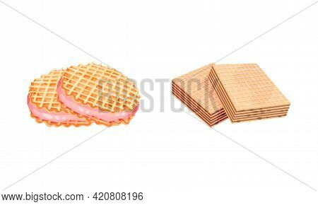 Waffle As Sweet Dish From Leavened Batter Or Dough Vector Set