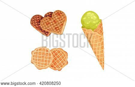 Waffle As Sweet Dish From Leavened Batter Or Dough And Ice Cream In Cone Vector Set