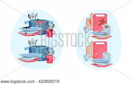 Pile Of Clean And Dirty Dishes And Utensils Rested In Sink Vector Set