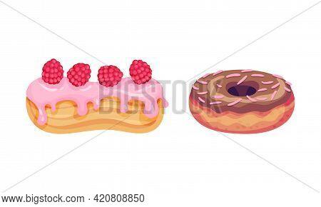 Sweet And Yummy Creamy Eclair Dessert Vector Set