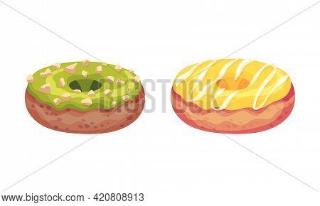 Sweet And Yummy Creamy Doughnut Dessert With Sugar Glaze On Top Vector Set