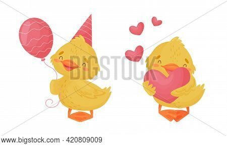 Cute Yellow Duckling Holding Balloon And Heart Vector Set