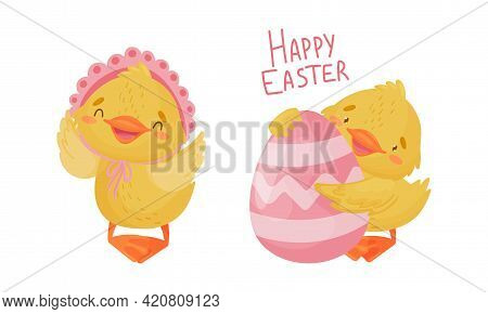 Cute Yellow Duckling With Decorated Egg Congratulating With Happy Easter Holiday Vector Set