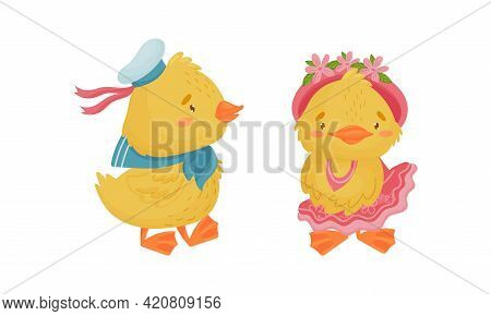 Cute Yellow Duckling In Peakless Cap And Dress Vector Set