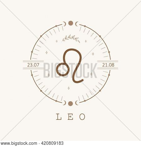 Leo. Zodiac Sign In Boho Style. Astrological Icon Isolated On White Background. Mystery And Esoteric
