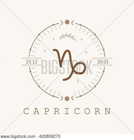 Capricorn. Zodiac Sign In Boho Style. Astrological Icon Isolated On White Background. Mystery And Es