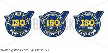 Iso 9001, 14001, 22000 Standard. Certified Monochrome Pictograms Set - Quality Management System Int