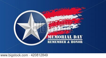 Memorial Day Background. National American Holiday Illustration. Vector Memorial Day Greeting Card.