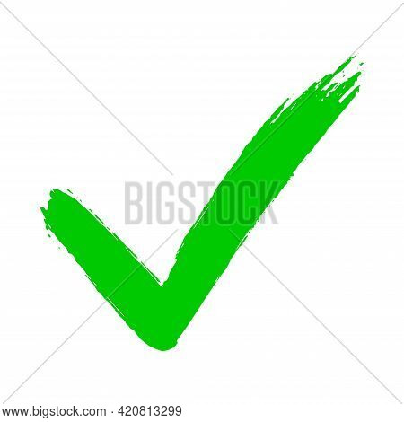 Check Mark Symbol Yes Button For Vote In Check Box, Web, Etc. Dirty Grunge Hand Drawn Tick V With Br