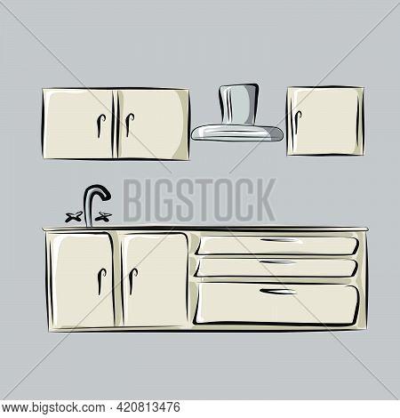 Kitchen, Kitchen Set, Storage Space For Dishes, Washbasin, Extractor Hood, Dishwasher. Part Of A Set