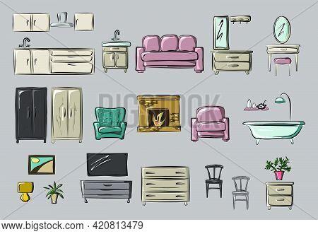 Kitchen, Hallway, Living Room, Bedroom. Sofa, Armchair, Wardrobe, Chest Of Drawers, Tv, Mirror, Floo