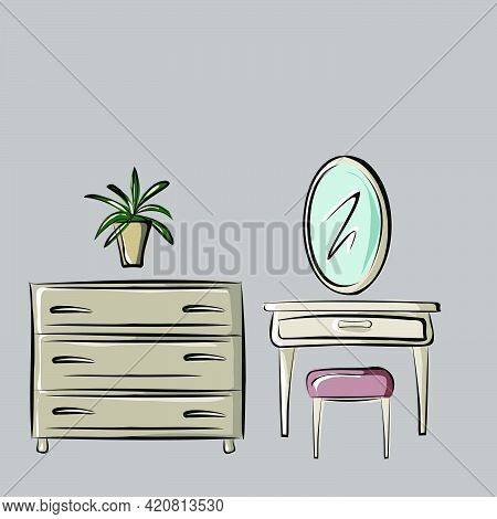 Cosmetic Table, Velvet Chair, Mirror, Chest Of Drawers, Flower In A Pot. Organization Of Space, Inte