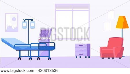 Room For Treatment And Diagnostic In Medical Center. Office Of Doctor With Armchair, Hospital Bed An