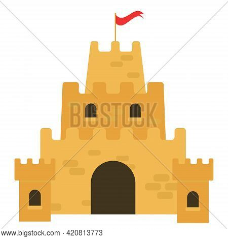 Vector Drawing Of A Sand Castle In A Flat Style Isolated On A White Background. Sand Castle Vector I
